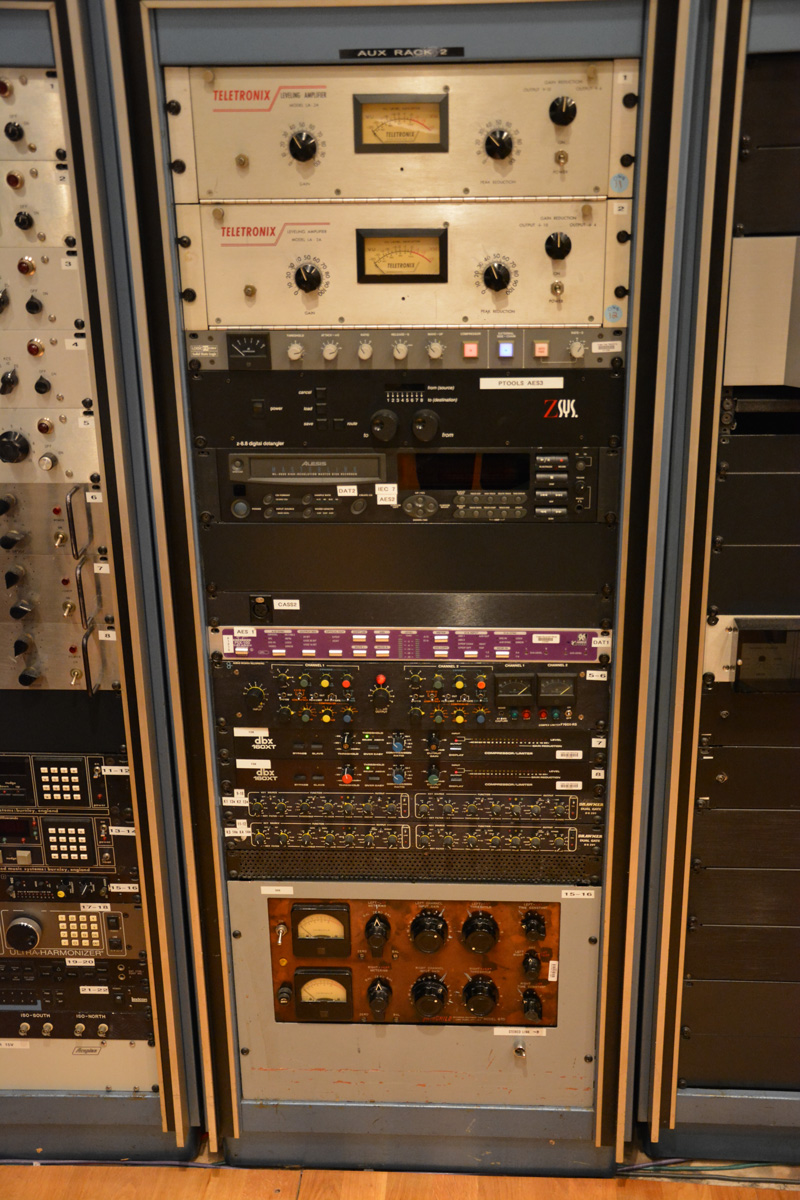 Rack 1 in the Studio B control room.