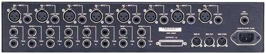 The back panel of the PRE offers standard XLR connections along with jack inputs for instrument/line level sources. Outputs are on a single DB-25 connector