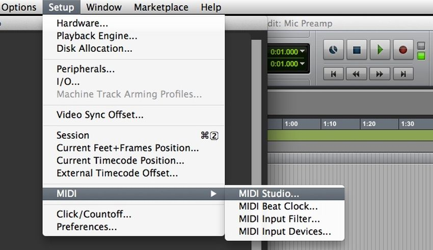 Launch MIDI Studio from the MIDI section of the Pro Tools Setup menu