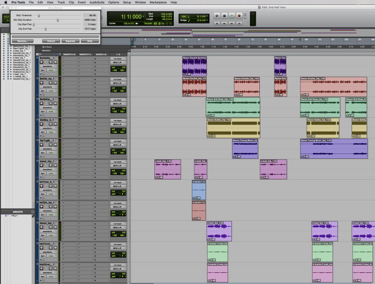 A nice clear view after using Strip Silence In Pro Tools