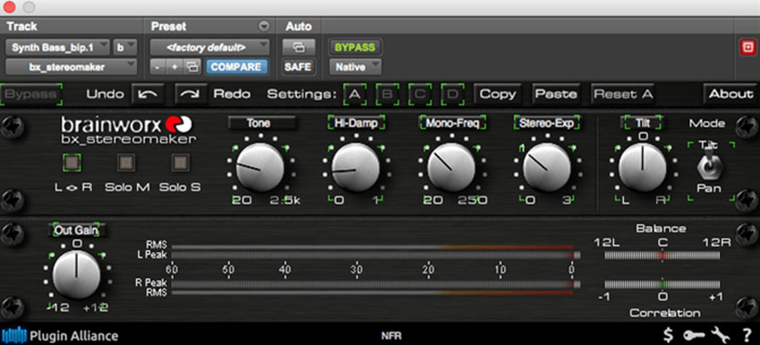 Bring a synth bass back to life Plugin Alliance bx-stereomaker