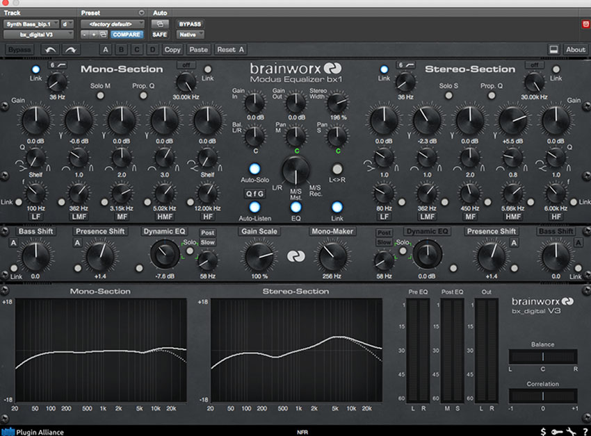 Bring a synth bass back to life Plugin Alliance bx-digital EQ
