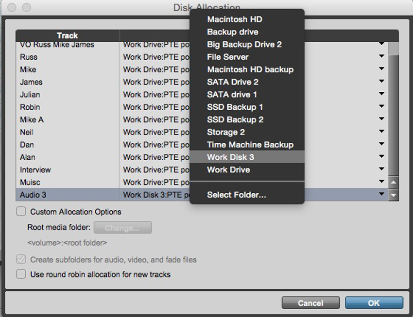 Setting Disk Allocation for individual tracks in Pro Tools