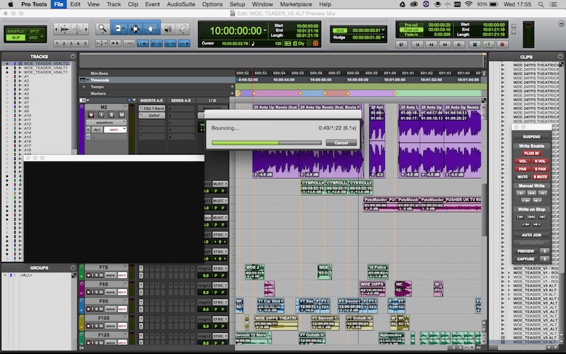 Avid Pro Tools Offline Bounce to QuickTime 5.1 Issues