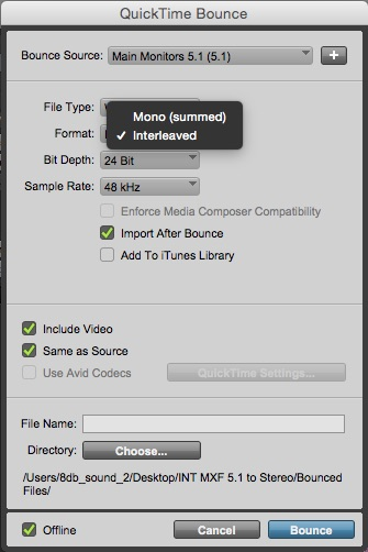 Avid Pro Tools Offline Bounce To QuickTime Settings