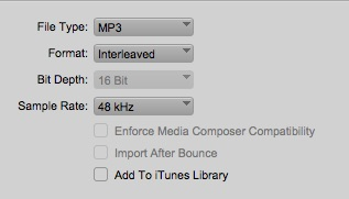 Avid Pro Tools Offline Bounce To QuickTime MP3 settings