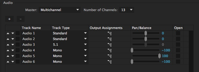 Adobe Premiere Pro Sequence Audio Settings