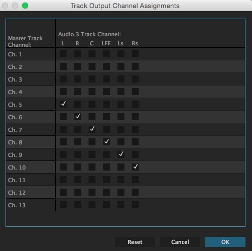 Adobe Premiere Pro Track Output Assignment   Settings