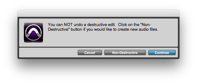 AudioSuite Destructive Warning