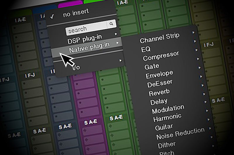 pro tools plug-in menu