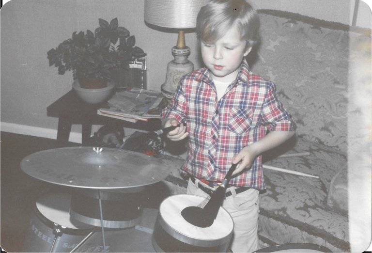 James Ivey aged 4 playing his first drum kit