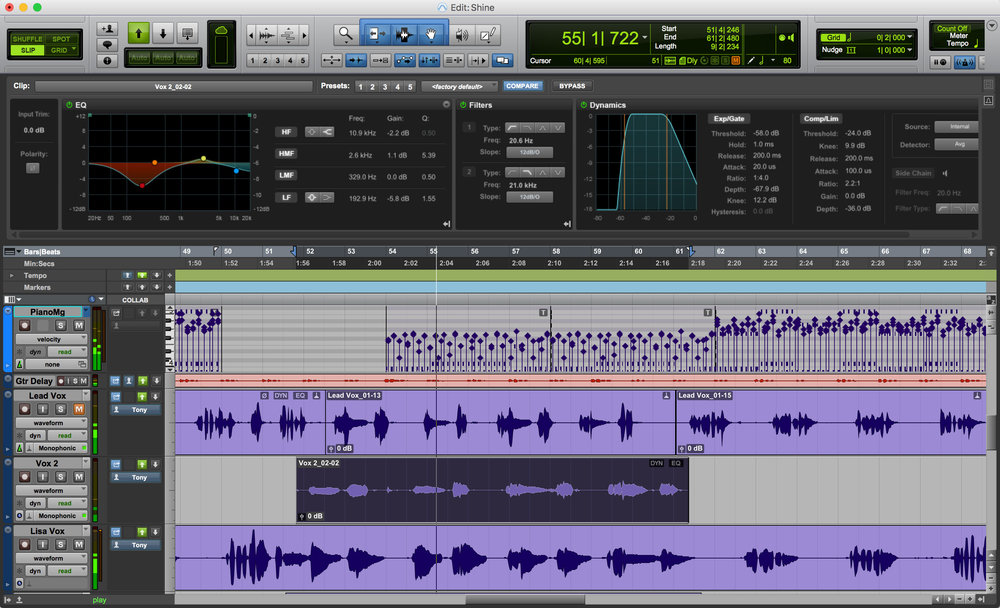 Pro Tools 12.6 Edit Window - Click on the image to make it larger!