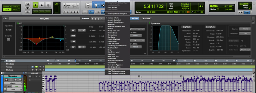 Pro Tools 12.6 Clip Effects With Chanel Stip Presets