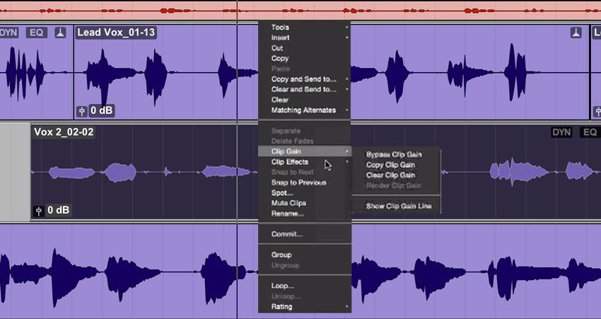 Pro Tools 12.6 Clip Effects Contextual Menu