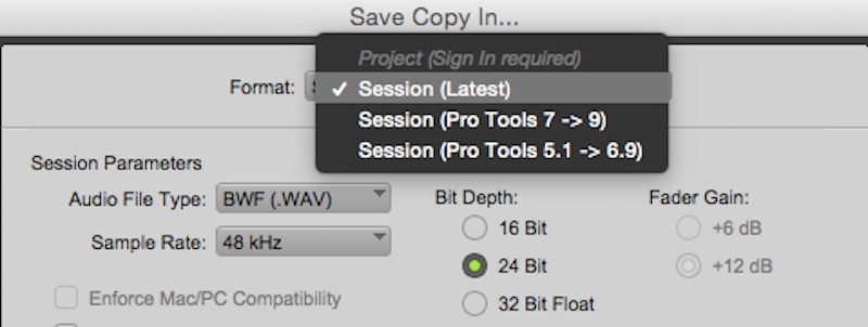 Pro Tools Save Copy In