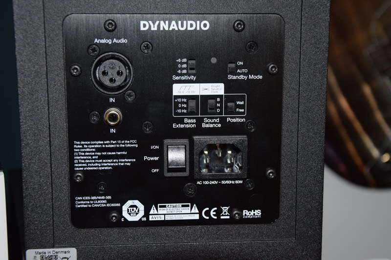 The rear panel of the Dynaudio LYD range of active monitor speakers