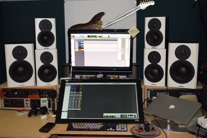 The 3 pairs of Dynaudio LYD speakers in my studio for the listening tests