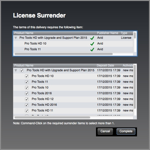 iLok License Manager Surrender warning message for Pro Tools 12.6