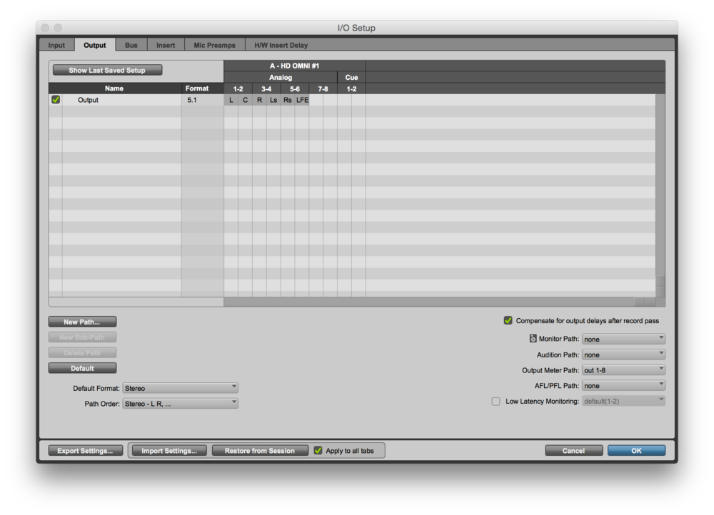 The Pro Tools I/O Setup Window Showing the 5.1 Output Mappings