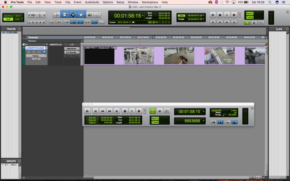 Session running on satellite machine, containing only video track. Again, link controls are active.