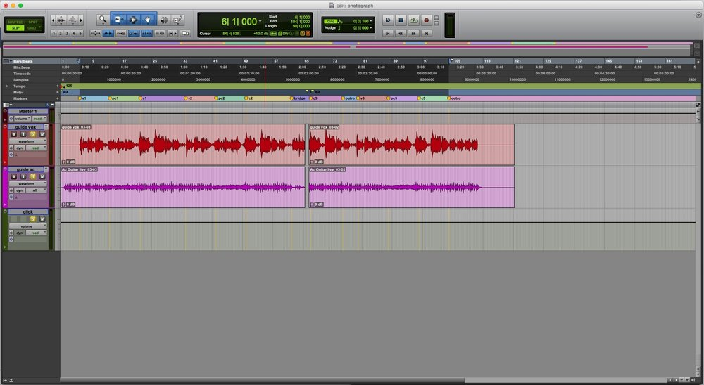 Live Demo Recording Set To Pro Tools Session BPM
