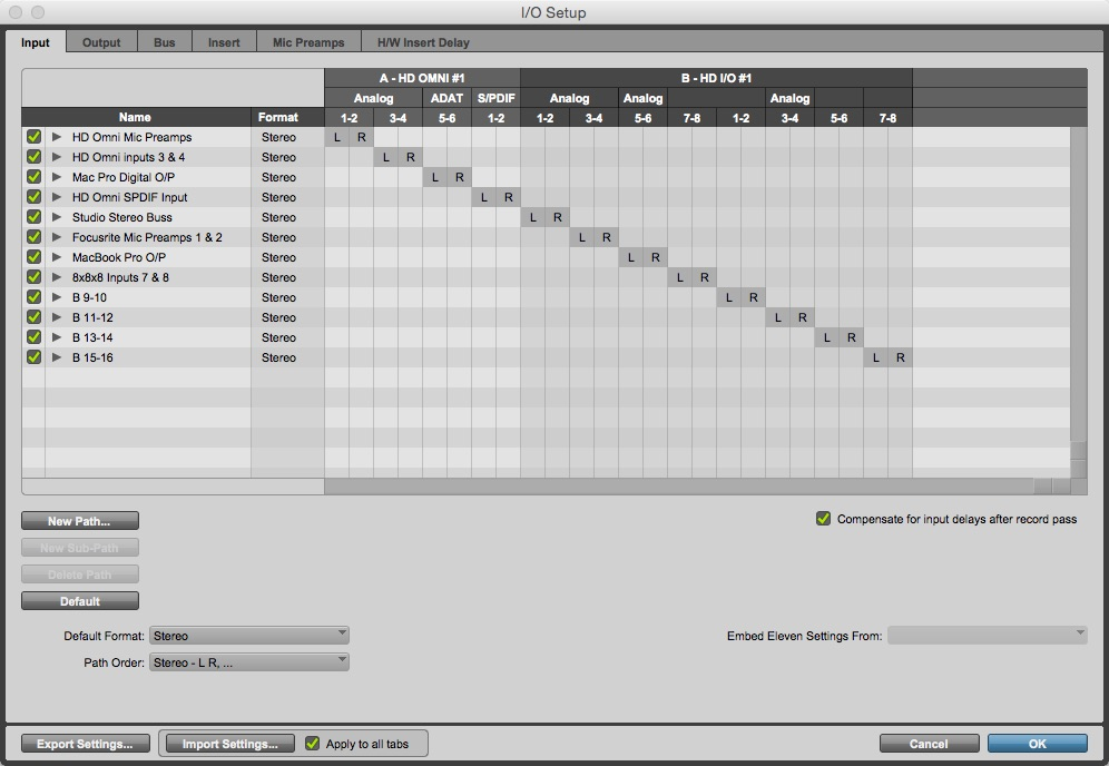 I/O Window Input Tab
