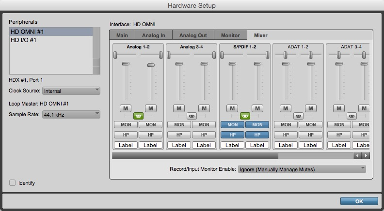Hardware Setup Window - Mixer Tab
