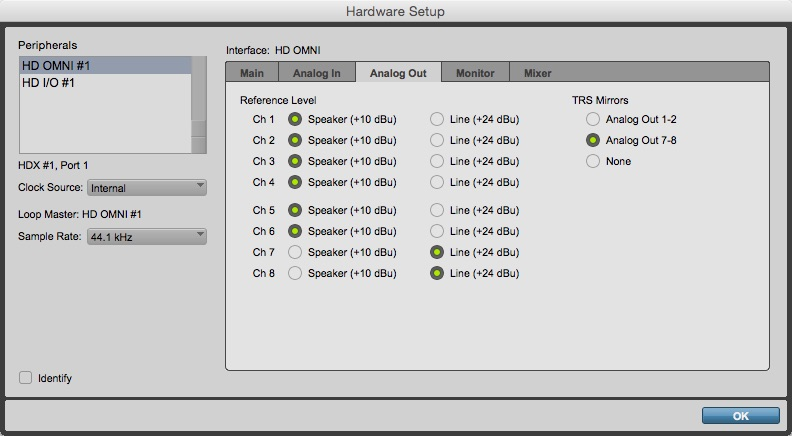 Hardware Setup Window - Analog Out Tab