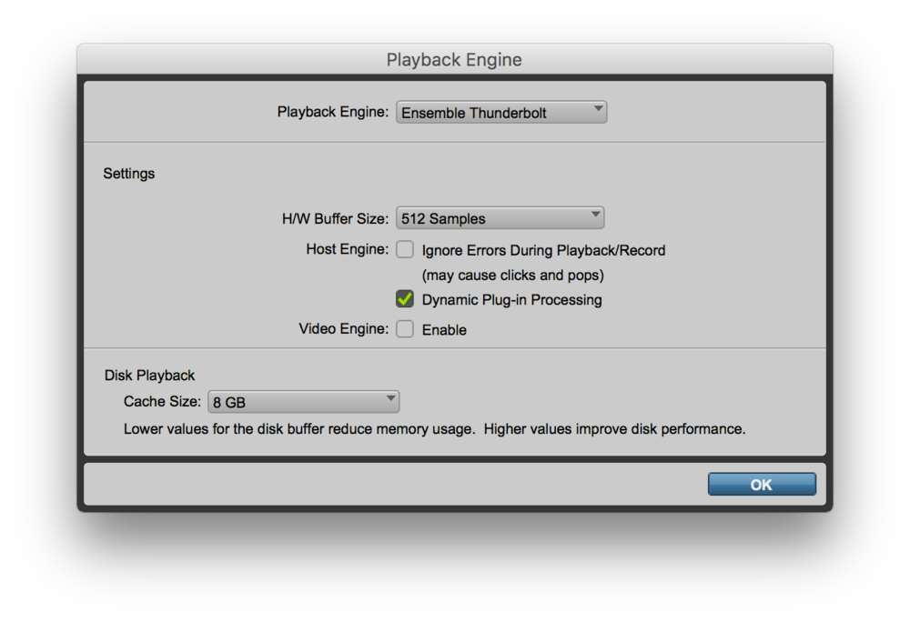 Playback settings in Pro Tools