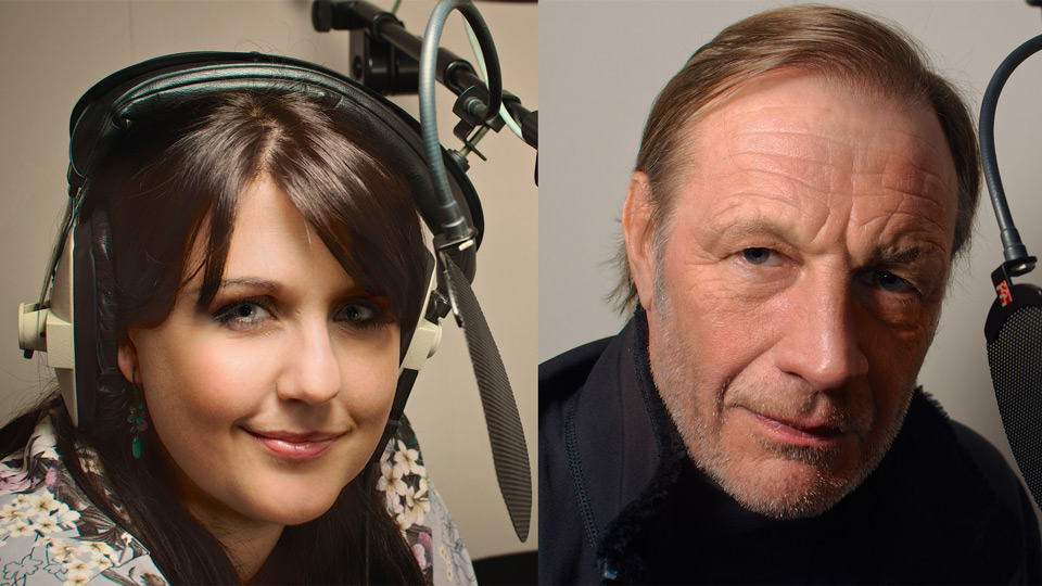 voice-over artists, Andrew Bicknell and Posy Brewer
