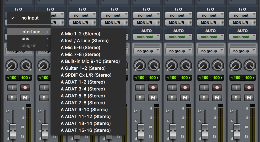 Pro Tools Inputs on Mixer