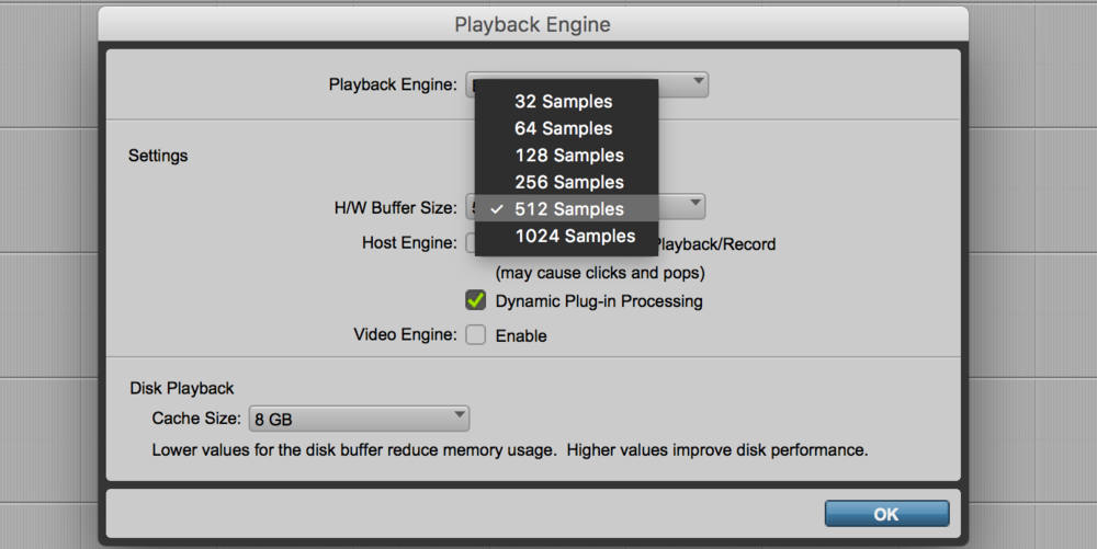 Playback settings in Pro Tools 2