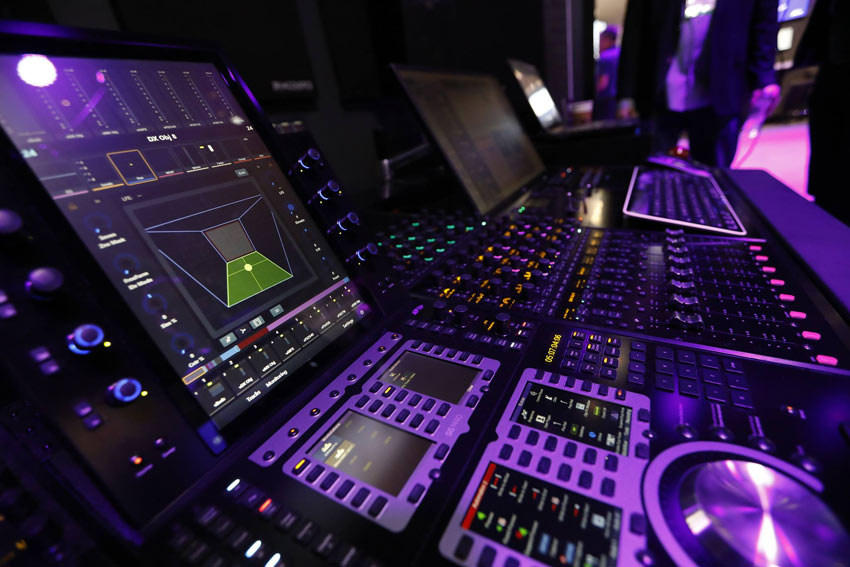 Avid Pro Tools S6 Control Surface with Dolby Atmos Panner on screen