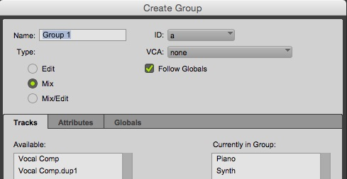 Using Mix Groups in Pro Tools
