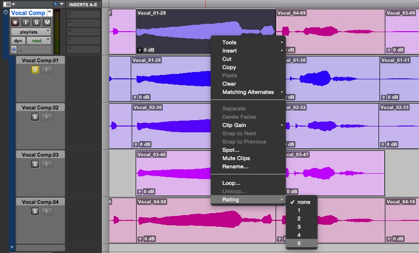 Vocal comping in Pro Tools using multiple playlists