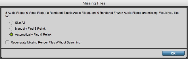 Missing Files in Pro Tools