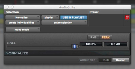 AudioSuite Plug-ins in Pro Tools