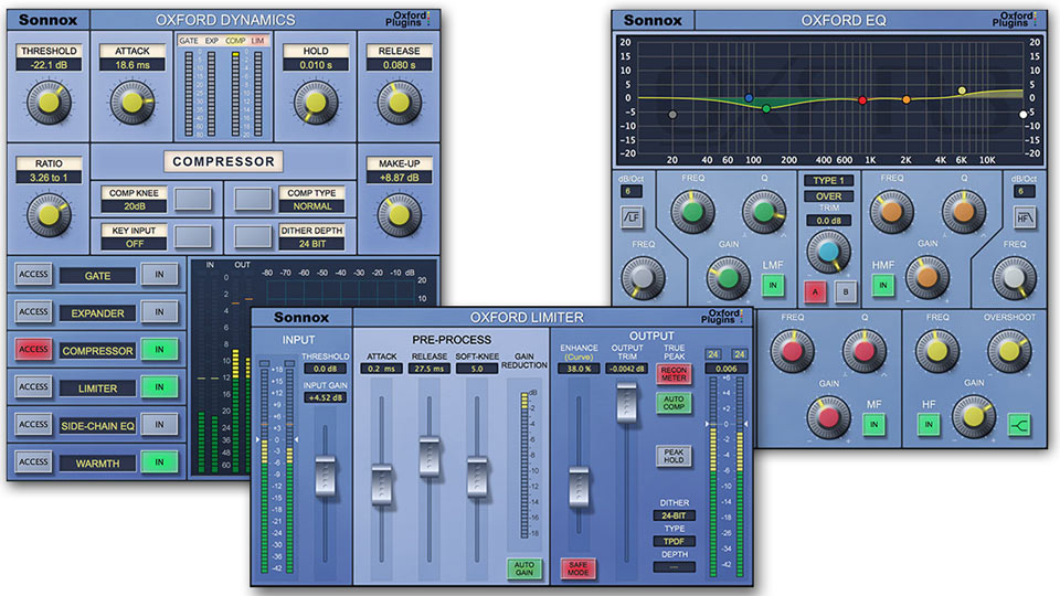 Sonnox EQ, Dynamics and Limiter v2 plug-ins