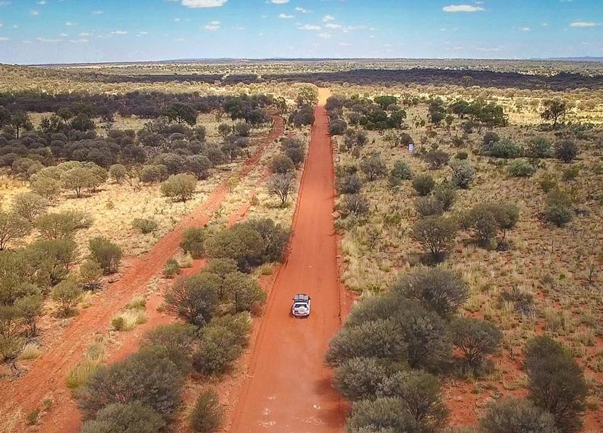 Driving across the Northern Territory in Australia