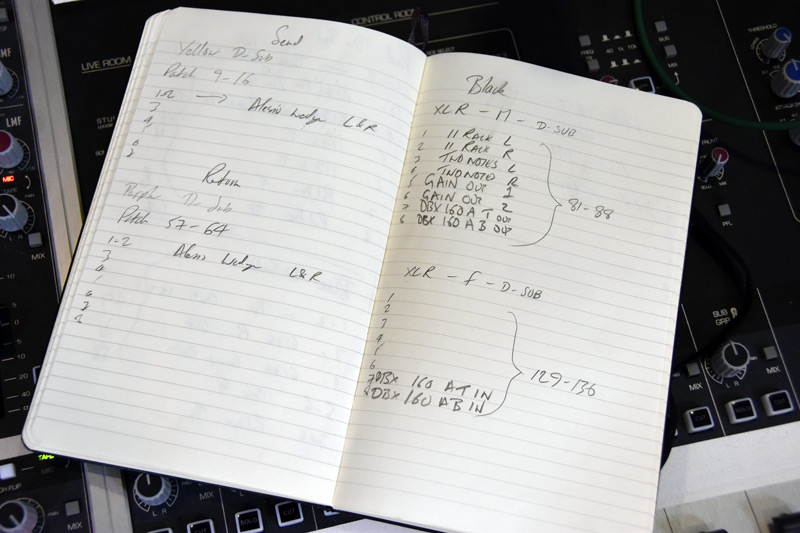 This is my patchbay routing log book. The cable is named at the top of each page. The attached gear is listed next to each connection and the bracketed numbers are where it comes up on the Audient patchbay.