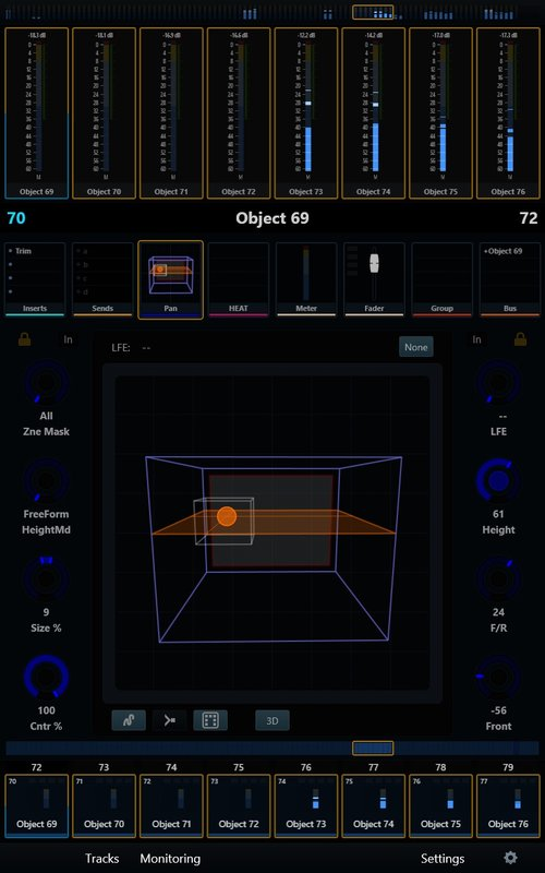 Avid S6 Dolby Atmos Panner screen