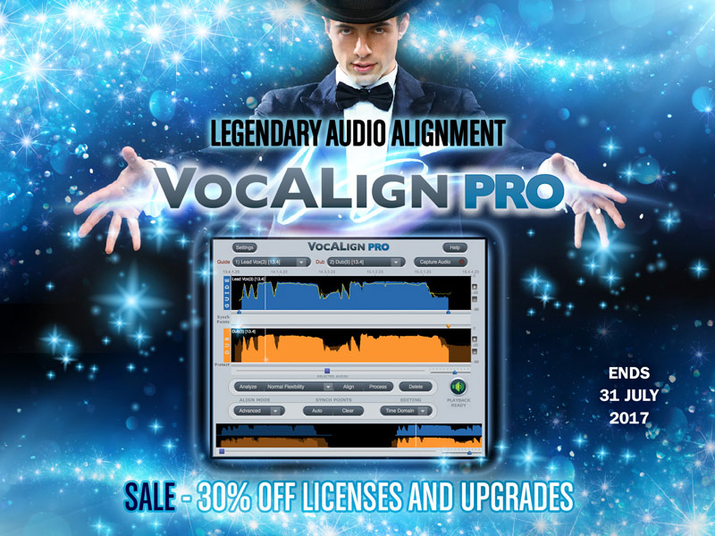 SynchroArts Offering 30% Off VocALign Pro And Upgrades Until 31st July 2017