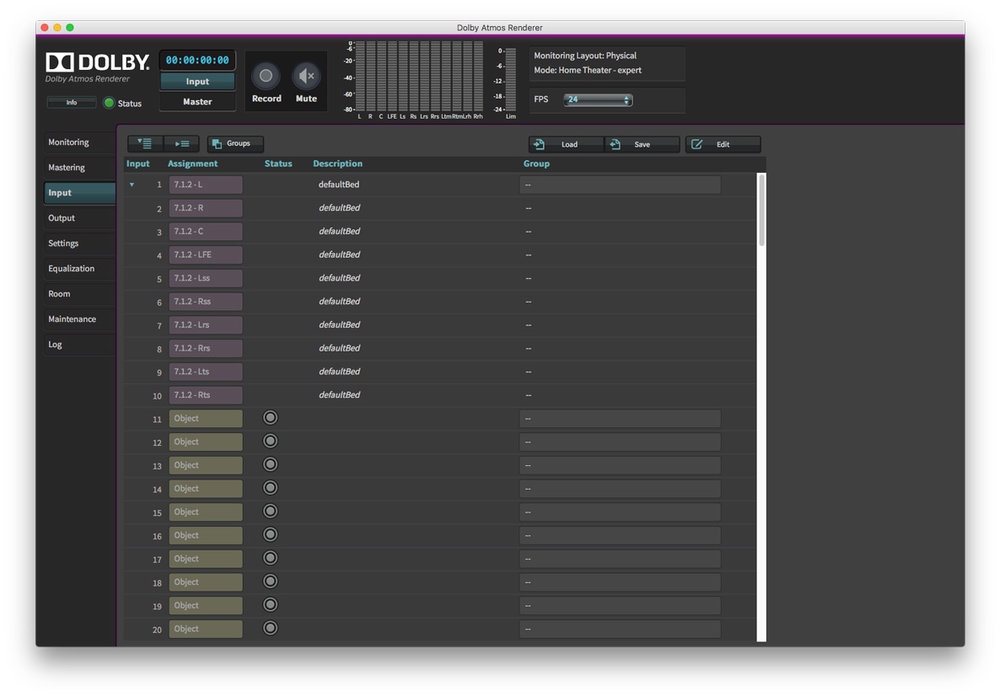 Dolby Atmos Production Suite Input Tab