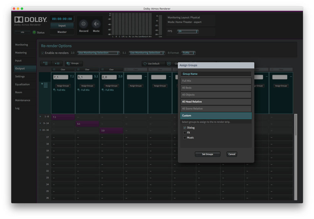 Dolby Atmos Production Suite Output Tab