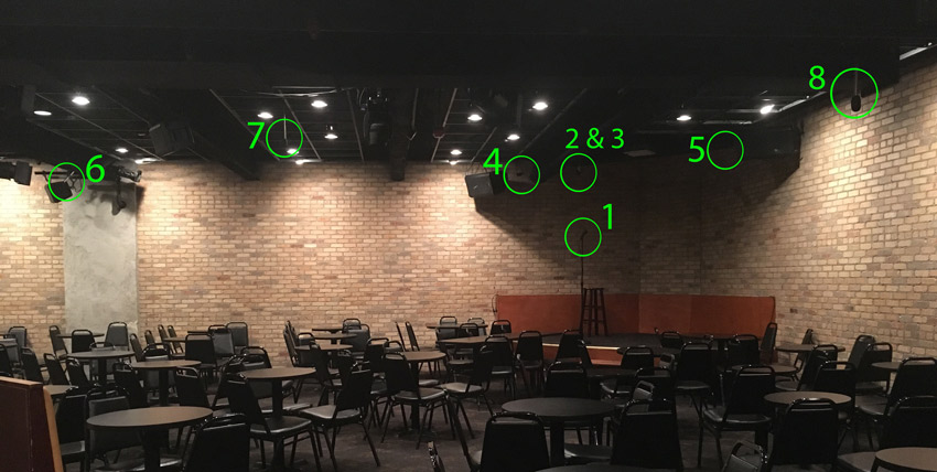 Tips for recording comedy - positions around the room
