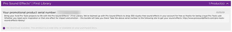 Pro Sound Effects Free gift in Avid Master Account