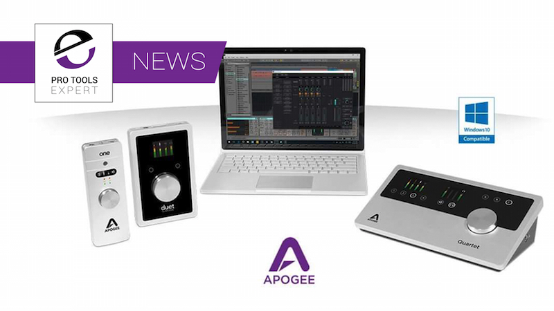 Apogee Announce Windows 10 Compatibility For ONE, Duet And