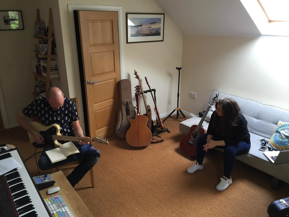 Me, Jess and Paul Drew in a songwriting session.