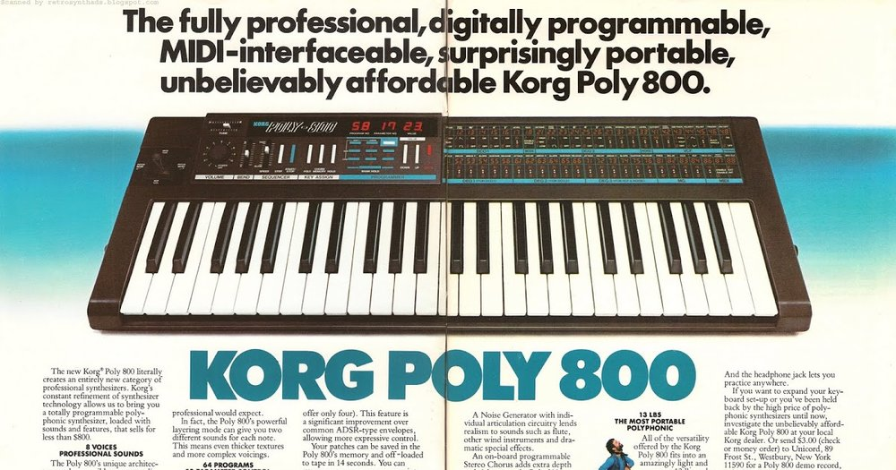 1983  Keyboard  magazine ad for Korg Poly-800