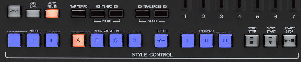 The Style Control section on the Yamaha Genos features three intros, four main variations, auto fill and manual break options, and three endings.